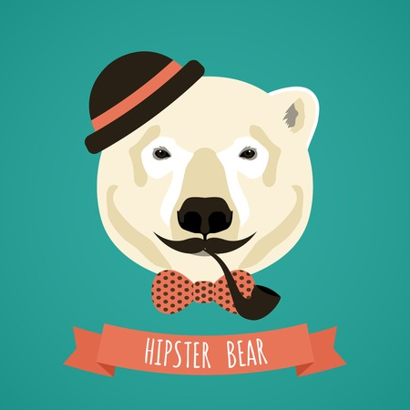 smoking pipe: Animal polar bear with smoking pipe hat and moustache hipster portrait vector illustration Illustration