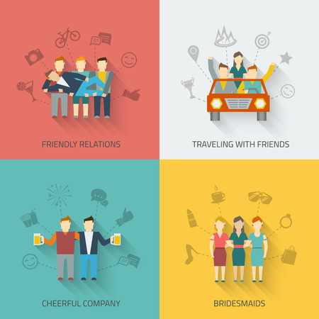 persona viajando: Amigos set de iconos de plano con las relaciones de amistad que viajan alegres damas de honor de la compañía aislado ilustración vectorial