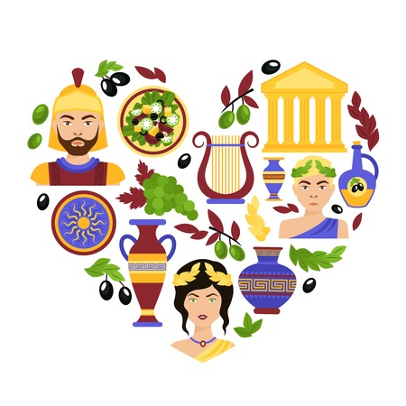 greek goddess: Greece history classical antique culture architecture and decoration symbols in heart shape vector illustration