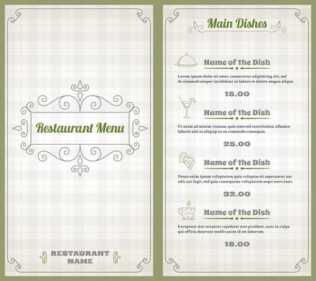 name plates: Elegant restaurant menu list with decorative elements on squared background vector illustration Illustration