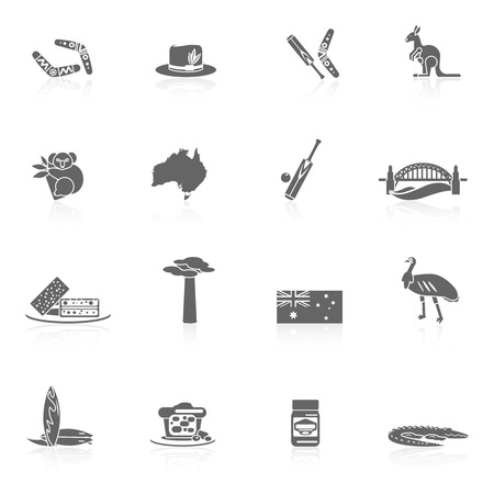 web design bridge: Australia travel icons black set with sydney opera house boomerang kangaroo isolated vector illustration Illustration