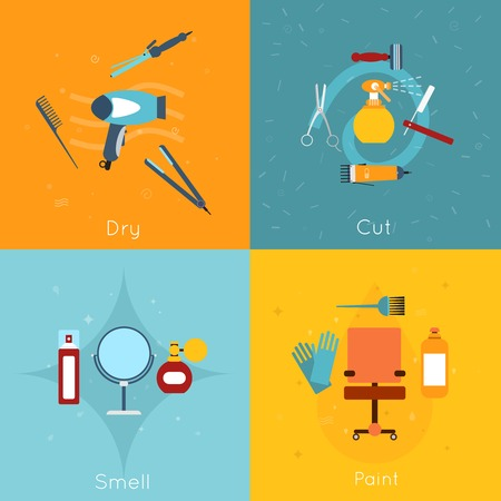 smell: Hairdresser flat icon set with dry cut smell paint tools isolated vector illustration. Illustration