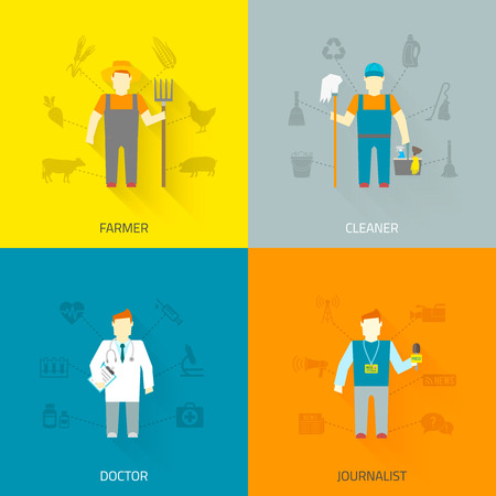cartoon cleaner: Profession cartoon male characters 4x4 flat icons composition of farmer cleaner doctor journalist abstract isolated  vector  illustration Illustration