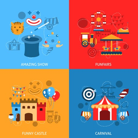amusement: Amusements park flat icons set with amazing show funfairs funny castle carnival isolated vector illustration Illustration