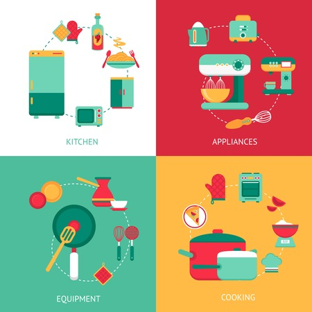 Kitchen design concept with cooking equipment and appliances isolated vector illustration Illustration