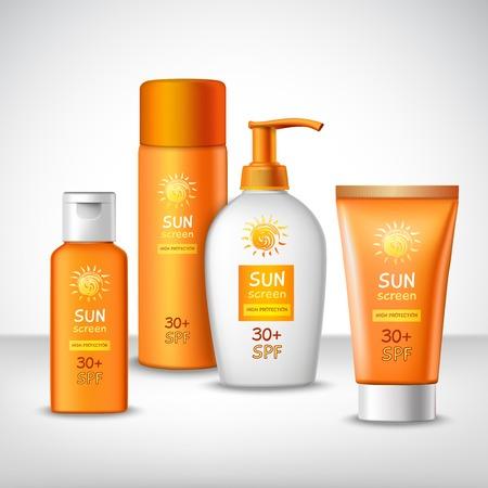 Bescherming tegen zonnebrand zon cosmetica containers oranje set vector illustratie