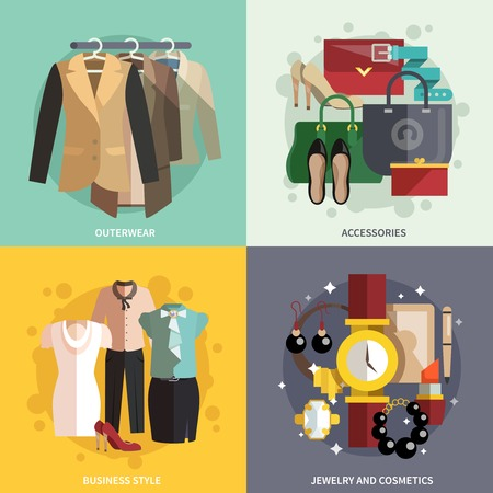 businesswoman skirt: Businesswoman clothes icons flat set with outwear accessories business style jewelry and cosmetics isolated vector illustration
