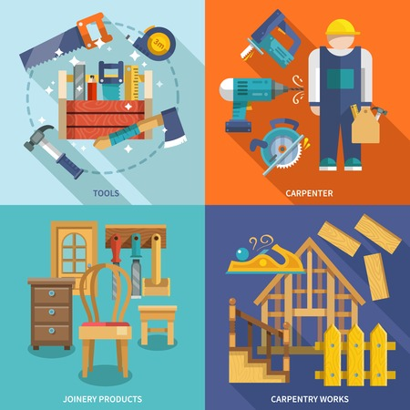 Carpentry works icons flat set with tools carpenter joinery products isolated vector illustration Çizim