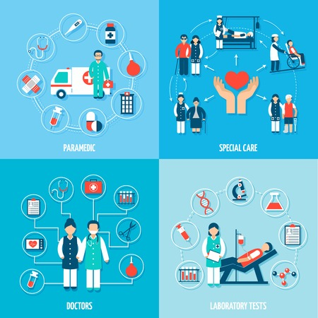 Medical personnel set with paramedic special care doctors and laboratory tests isolated vector illustration Illustration