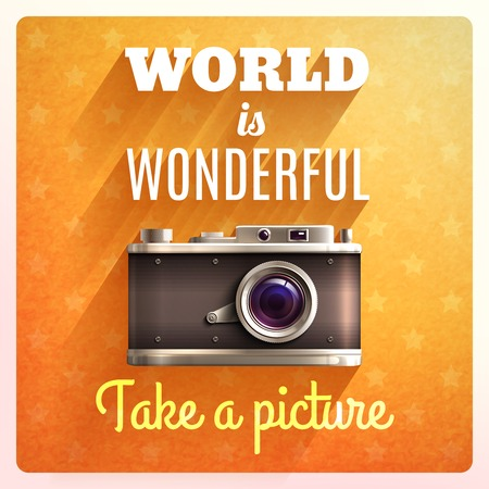 a picture: Retro photo camera poster with world is wonderful text vector illustration