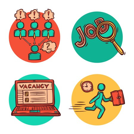 job functions: Job vacancy search personnel recruitment strategy concept flat icons with candidate interview  composition abstract isolated vector illustration Illustration