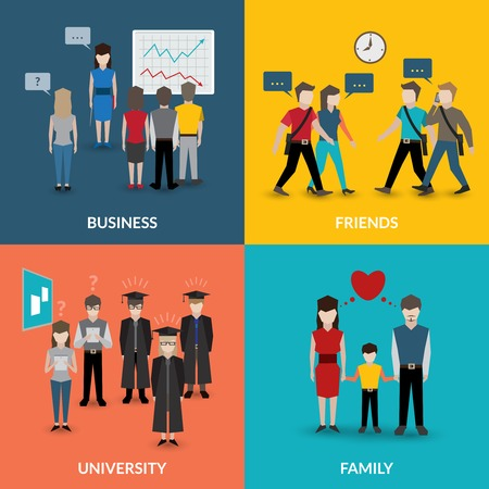 social behaviour: People social behavior communication patterns four flat icons composition for university business family home situation vector illustration Illustration