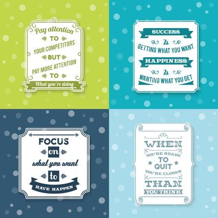 oracion: �xito creativas etiquetas blancas de frases sabio juego de papel ilustraci�n vectorial aislado