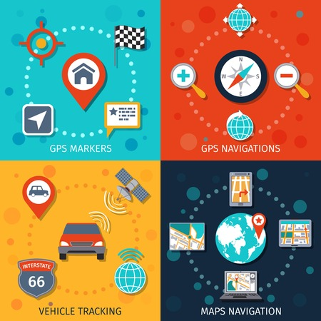 tracking: Navigation flat set with gps markers navigations vehicle tracking maps isolated vector illustration