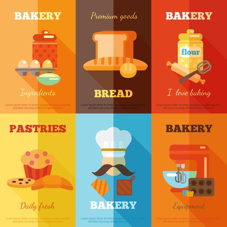 mini oven: Bakery mini poster set with premium goods bread daily fresh pastries isolated vector illustration Illustration