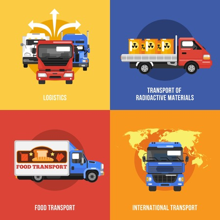 Truck icons flat set with logistics radioactive materials food international transport isolated vector illustration Vector