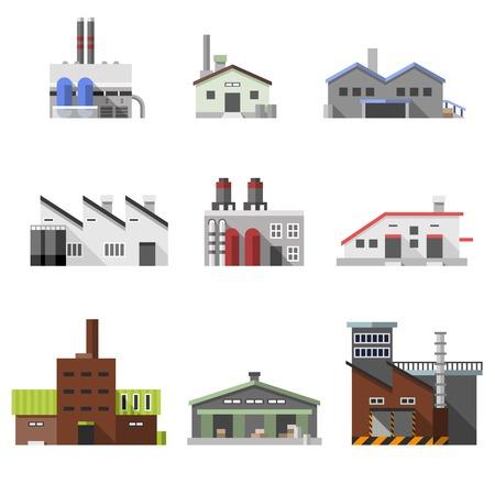 electricidad: El poder de la industria el�ctrica de f�brica edificios manufactura iconos decorativos planas conjunto aislado ilustraci�n vectorial Vectores