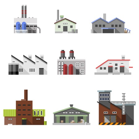 industry concept: Factory power electricity industry manufactory buildings flat decorative icons set isolated vector illustration
