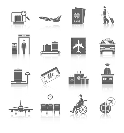 Beveiliging van de luchthaven vlucht terminal passagier pictogrammen zwart set geïsoleerd vector illustratie