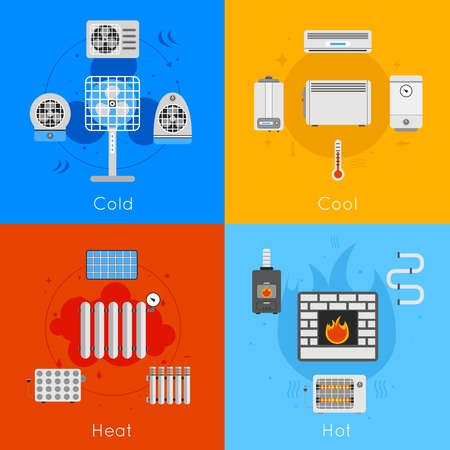 hot and cold: Heating and cooling flat icon set with coldly cool heat hot isolated vector illustration Illustration