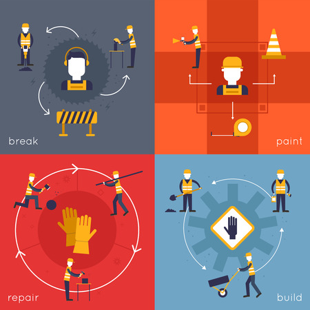 Road worker icons flat set with break paint repair build isolated vector illustration Vector