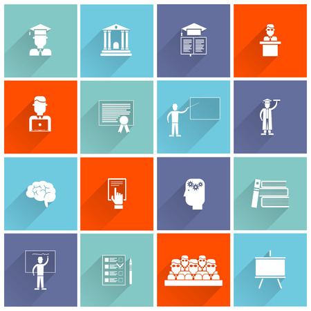 college classroom: Higher education college university studying and graduation icons flat set isolated vector illustration Illustration