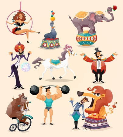 Circus performance decorative icons set with athlete animals magician vector illustration Illustration