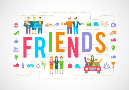 友人や社会的なコミュニティ関係フラット アイコン設定分離ベクトル イラスト