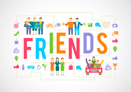 friends together: Friends and social community relationship icons flat set isolated vector illustration