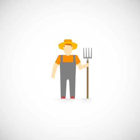 agrarian: Farmer character agrarian agriculture farming profession icon flat vector illustration