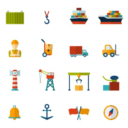 berth: Seaport flat icon set with container tanker vessel loader isolated vector illustration Illustration