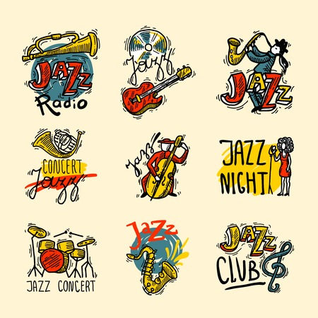 jazz singer: Jazz sketch labels set with music club radio instruments isolated vector illustration