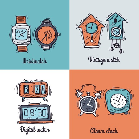 wristwatch: Clock design concept set with wristwatch vintage digital watch sketch icons isolated vector illustration