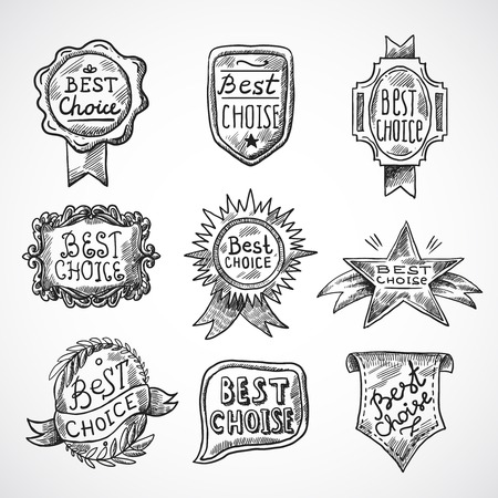 seal stamp: Best choice advertising and promotion badge black sketch set isolated vector illustration Illustration