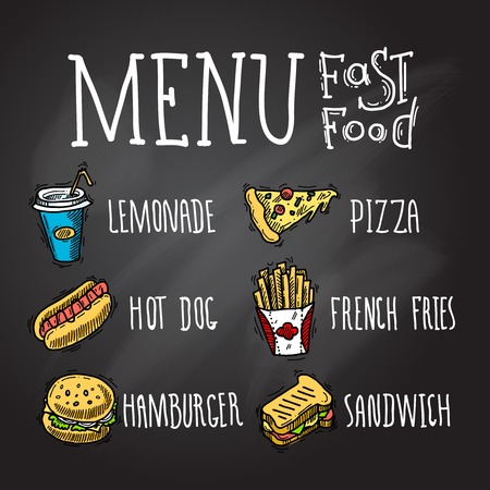 hot: Fast food menu chalkboard decorative icons set with lemonade hot dog hamburger pizza french fries hamburger and sandwich isolated vector illustration