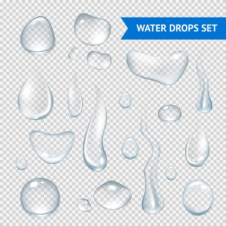 Pure clear water drops realistic set isolated vector illustration Çizim