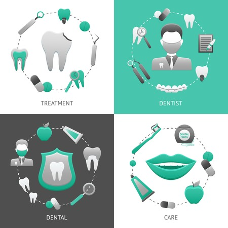 dentist concept: Dental design concept set with treatment dentist care flat icons isolated vector illustration