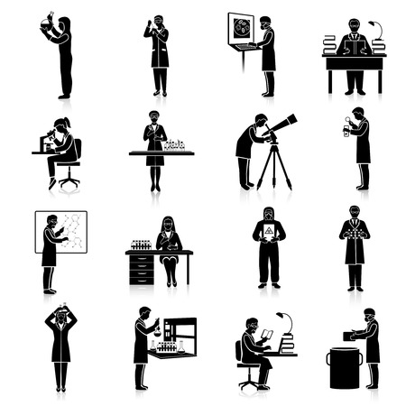 Scientists doctors and teacher characters making scientific experiments black set isolated vector illustration Illustration