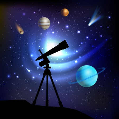 Space background with telescope planets comets and stars vector illustration Vector