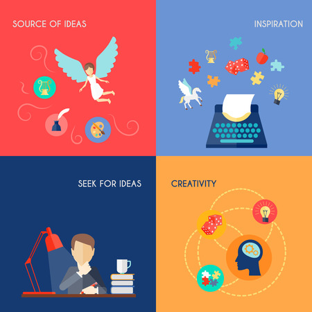 insight: Muse design concept set with source of ideas inspiration creativity flat icons set isolated vector illustration