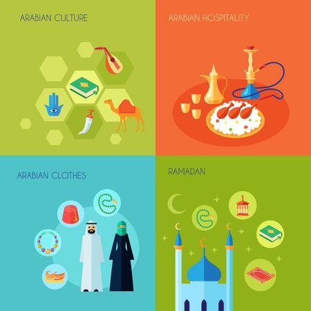 Árabe concepto cultura diseño conjunto con la ropa de la hospitalidad y los iconos planos ramadan establece ilustración vectorial aislado