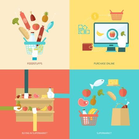 Supermarkt concept set met levensmiddel online aankoop kopen vlakke pictogrammen geïsoleerd vector illustratie