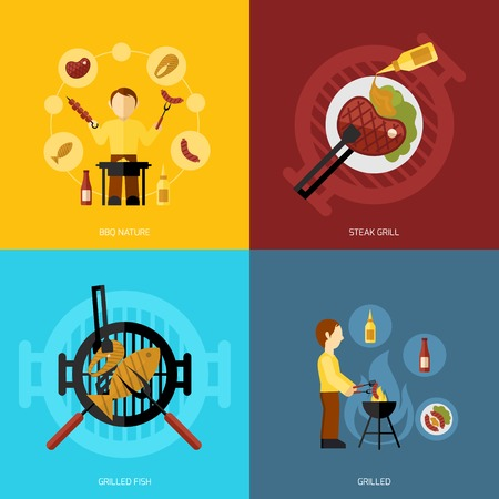 bbq: Bbq grill design concept set with fish and meat steaks cooking icon flat isolated vector illustration