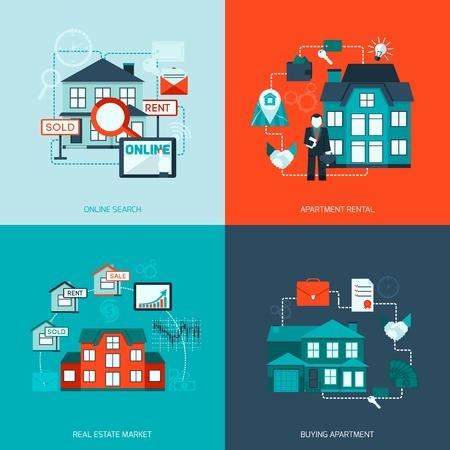 veiling: Onroerend goed ontwerpconcept set met online zoeken appartement markt kopen platte pictogram geïsoleerde vector illustratie