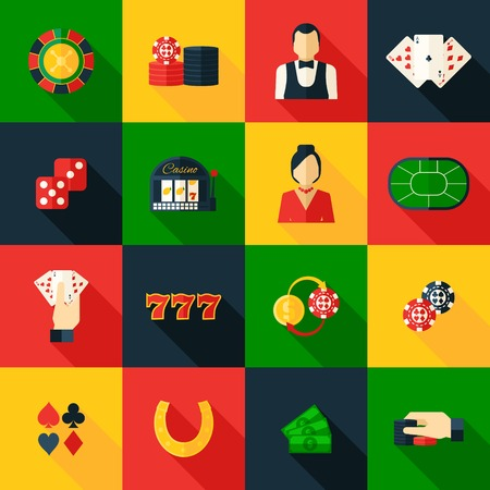 roulette online: Casino game of chance money play icon flat set isolated vector illustration