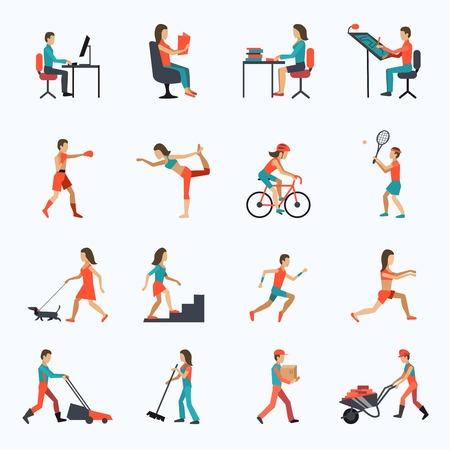 Iconos de las actividades físicas establecidas con las personas que trabajan entrenamiento de ciclismo aislados ilustración vectorial