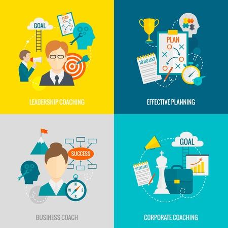 Coaching bedrijf ontwerpconcept set met geïsoleerde collectief leiderschap coaching een effectieve planning vlakke pictogrammen vector illustratie