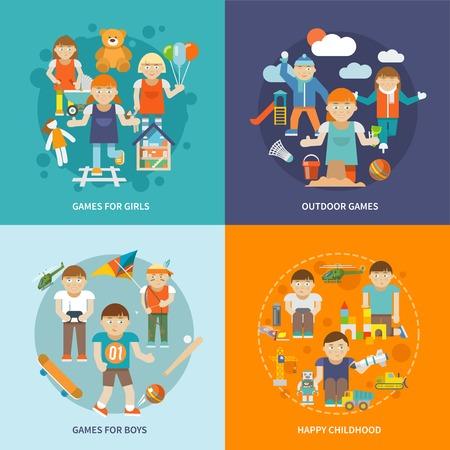 演奏与游戏的孩子设计概念女孩和男孩愉快的童年室外隔绝的传染媒介例证