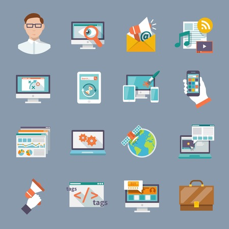 Seo internet marketing computer software application flat icon set isolated vector illustration