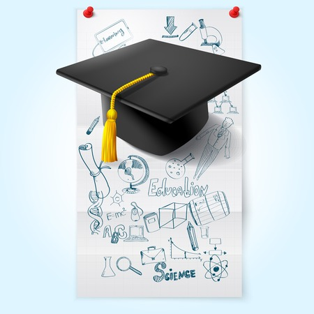 Education sketch on paper sheet with graduation hat vector illustration Vector